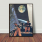 Night Boat hand cut collage art print by LocalHotelParking