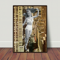 Pin Up hand cut collage art print by LocalHotelParking