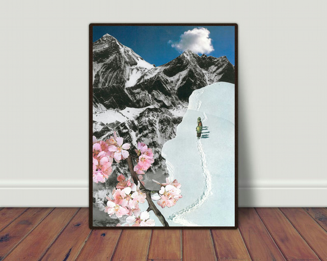 Seasonal Expedition hand cut collage art print by LocalHotelParking