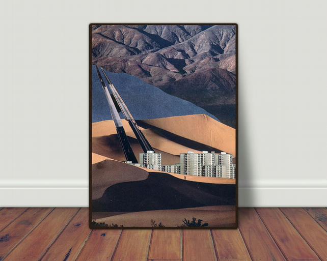 The Road well Traveled hand cut collage art print by LocalHotelParking