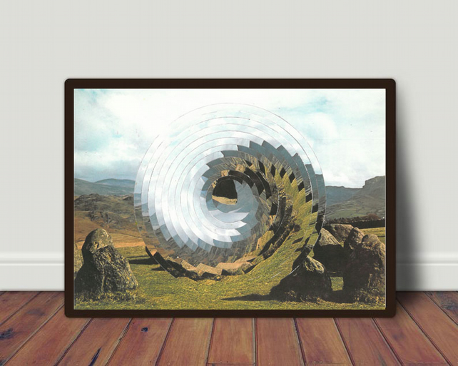 Wave hand cut collage art print by LocalHotelParking