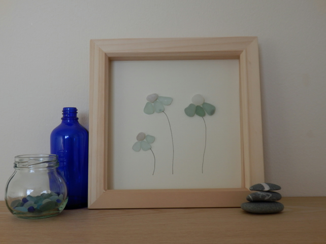 Framed Sea Glass Flower Art  - Unique, Eco friendly gift