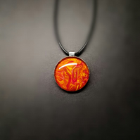 Fire Acrylic painting pendant