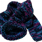 Purple Navy Blue Pink Rainbow Handmade Hand Knit Wool Socks Limited Edition
