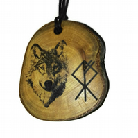 Timber Wolf Dog Rune Pendant Necklace Wooden Handmade Viking Choker
