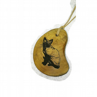 Siamese cat Necklace Handmade Wooden Engraved Charm Pendant Personalised Gift