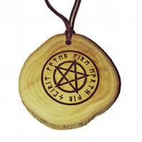 White Pentagram Occult Oil Scented Handmade Air Freshener Wood Diffuser Charm