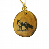 Winter Fox Necklace Pendant Charm Handmade Engraved Wooden  Natural Choker