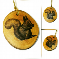 Squirrel Necklace Pendant Charm Handmade Engraved Wooden  Natural Choker