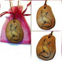 Fox Necklace Pendant Charm Handmade Engraved Wooden  Natural Choker