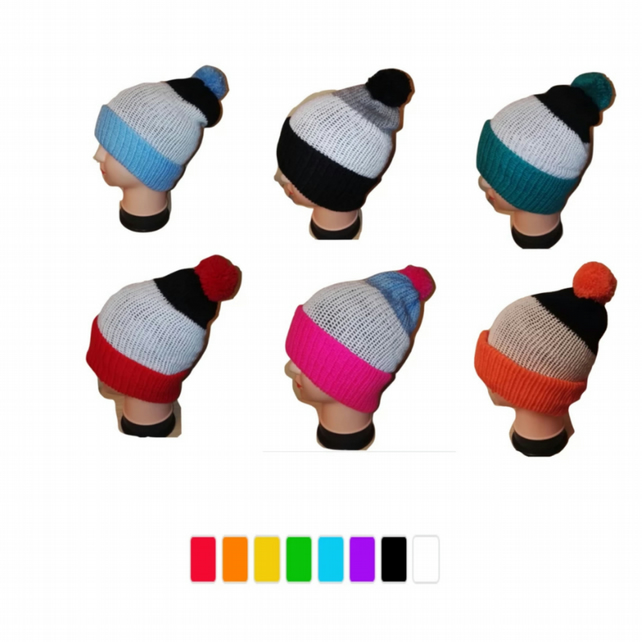 Retro Bobble Hat Black White Striped Handmade Many Colours Available