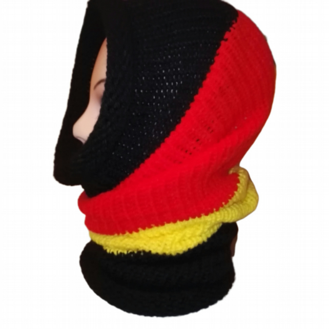 Bright Black Red Yellow Cowl Scarf Multi way Hat  Neck Warmer Unisex Handmade