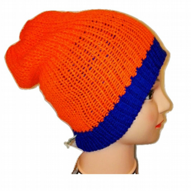 Orange Royal Blue Reversible Beanie Bobble Hat reversible Unisex Limited Edition