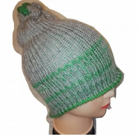 Green Grey Stripe Beanie Mix  Bobble Hat Limited Edition Handmade
