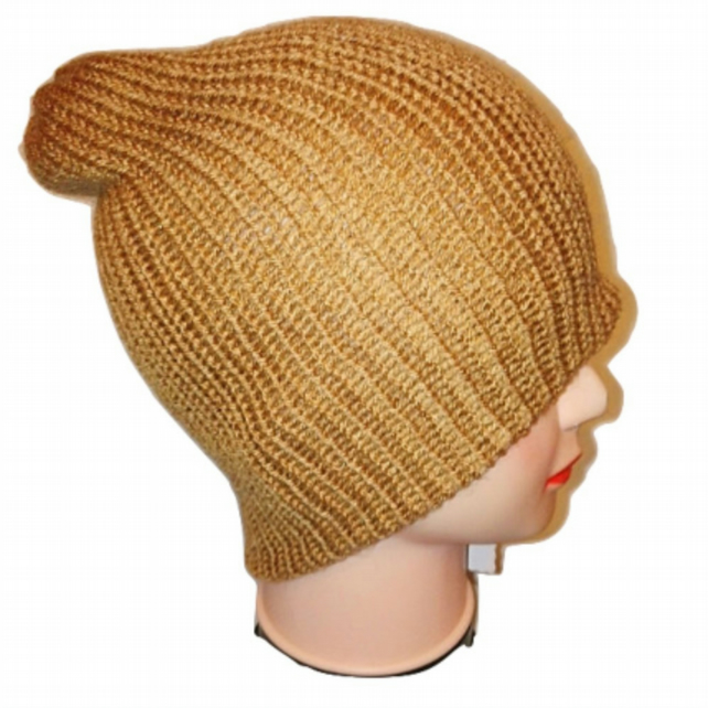 Gold Beanie Bobble Hat Limited Edition Handmade Hand Knit Winter Hats