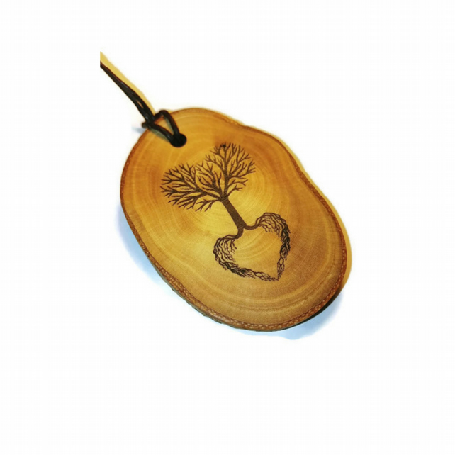 Yggdrasil Tree of Life Pagan Celtic Viking Wood Handmade Pendant Necklace