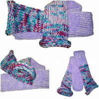 Lilac Rainbow Mix Handmade Hand Knit Wool Socks Unisex Limited Edition