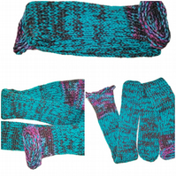 Turquoise Rainbow Brown Mix Handmade Hand Knit Wool Socks Unisex Limited Edition