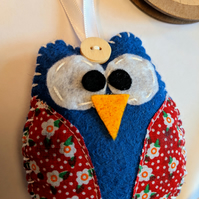 Handmade Owl Decoration, Owl Tree Decoration, Felt Owl, Handmade Owl
