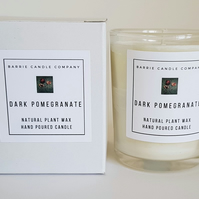 Dark Pomegranate Candle - Hand Poured Scented Soy Wax in UK - Eco Vegan Friendly