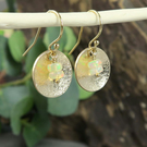 Opal Gemstone and Disc Earrings