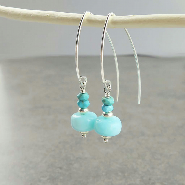Peruvian Blue Opal and Turquoise Earrings