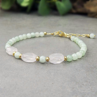 Rose Quartz and Burma Jade Bracelet