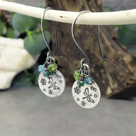 Sterling Silver Dragonfly and Gemstone Earrings