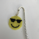 Silver plated bookmark with beaded Emoji