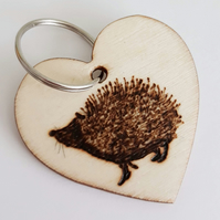 Keyring - Hedgehog Design. Wood Burnt. Can Be Personalised. Pyrography (KR)