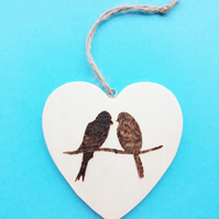 Birds on a Heart Anniversary Decoration. Pyrography One-of-a-Kind (HDEC)