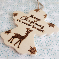 Wooden Angel-Shaped Christmas Tree Decoration with Stag. Personalised (XMAS)
