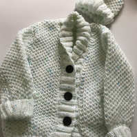 Hand knitted chunky child's jacket and hat