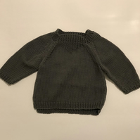 Hand knitted cotton baby jumper