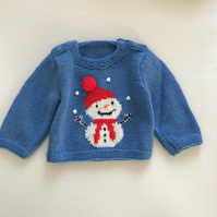 Hand knitted Christmas jumper with a snowman design