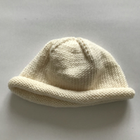 Hand knitted baby beanie hat