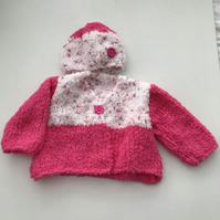Hand knitted baby fluffy cardigan and hat