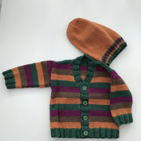 Hand knitted baby striped cardigan and hat