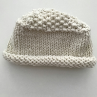 Hand knitted chunky baby hat