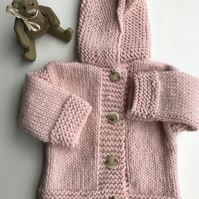Chunky pink hooded baby jacket