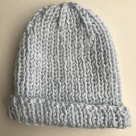 Blue chunky ribbed baby hat