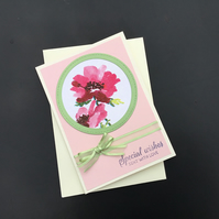 Handmade Greetings Card, pink flower framed in soft green, matching green bow