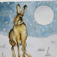 Hare and Moon Christmas Cards Pack of 5