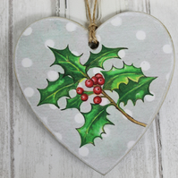 Holly Hanging Heart Christmas Decoration - Christmas Ornaments, Gift Tags