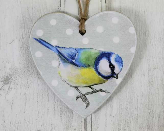 Blue Tit Wooden Heart - Hanging Decorations, Gift Tags