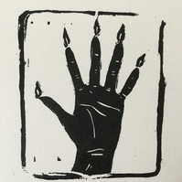 Handmade linocut print on paper, Hand of Glory.