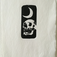 Limited edition handmade skull linocut print, This Too Shall Pass