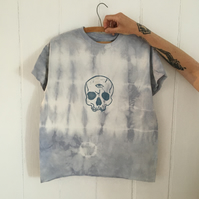 Tie-dye cotton t-shirt with linocut skull print.