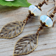 Opal Glass Leaf Earrings Hypoallergenic, Woodland Jewellery byLaurieB