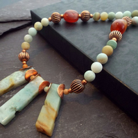 Rough Amazonite and Copper Autumn Statement Necklace byLaurieB